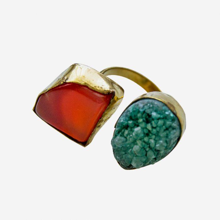anillo doble de piedra natural