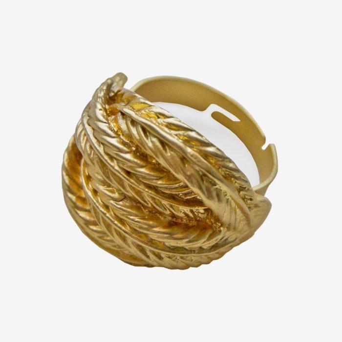 anillo trenzado dorado