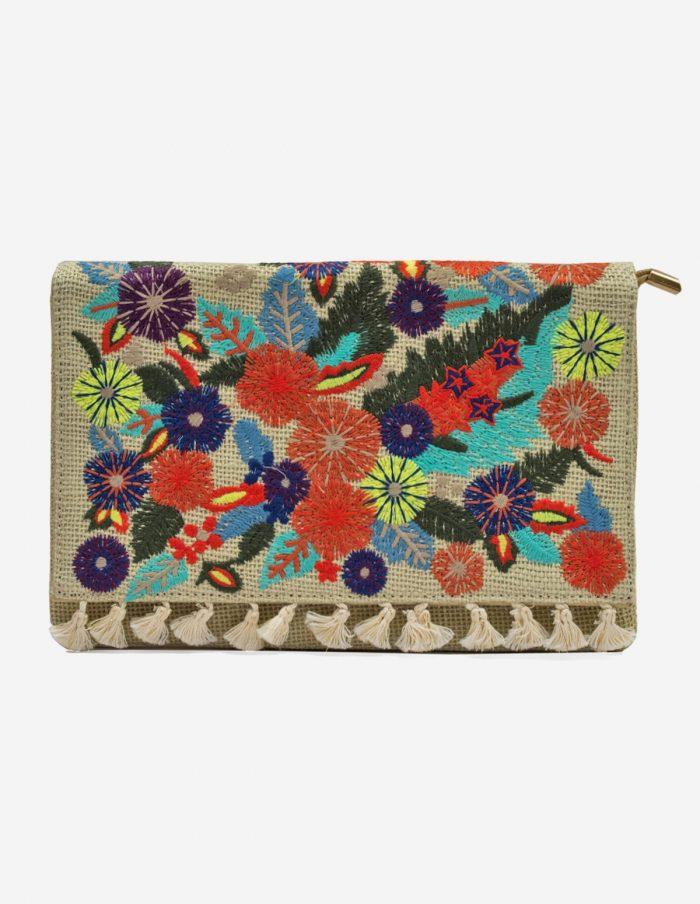 bolso bordado de flores