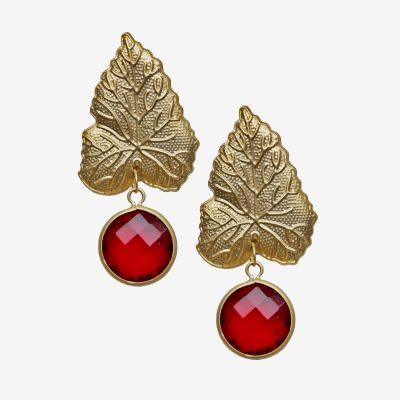 pendientes de hojas doradas con cristal