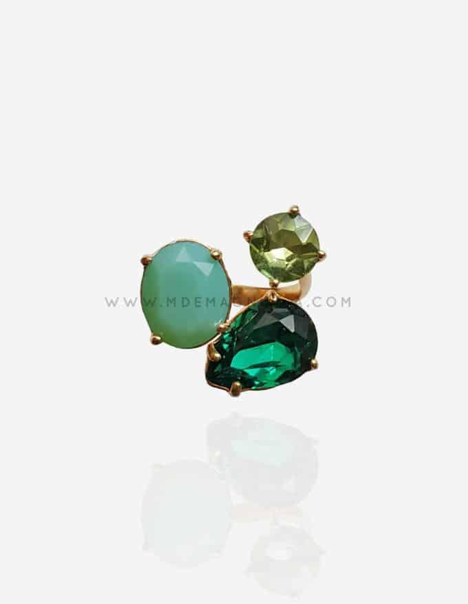 anillo de cristal de bisutería fina