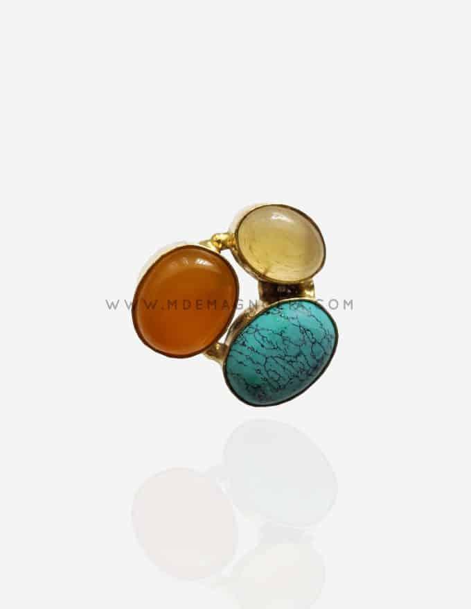 anillo de piedra turquesa