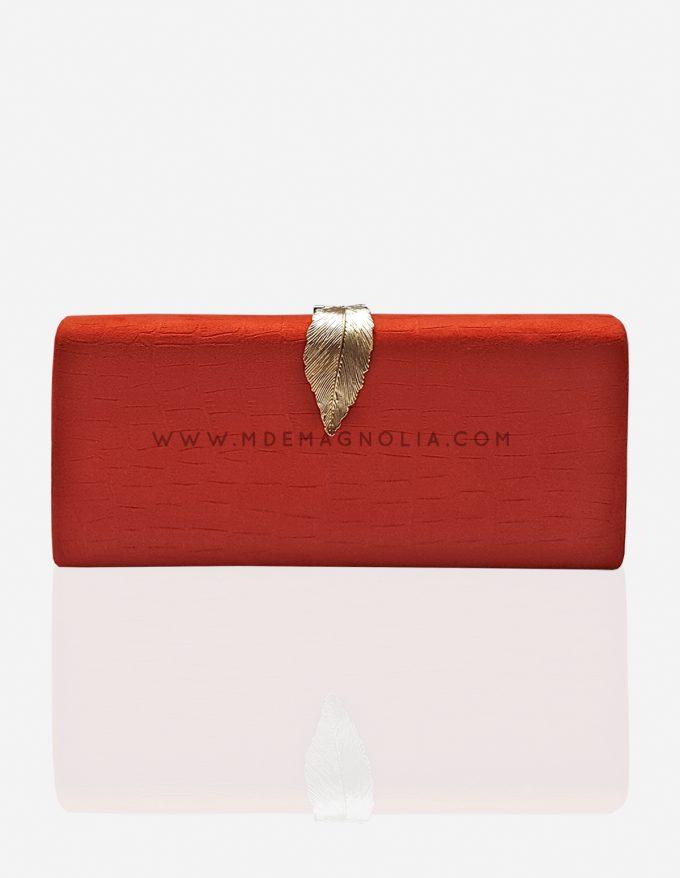 bolso de fiesta rojo y dorado