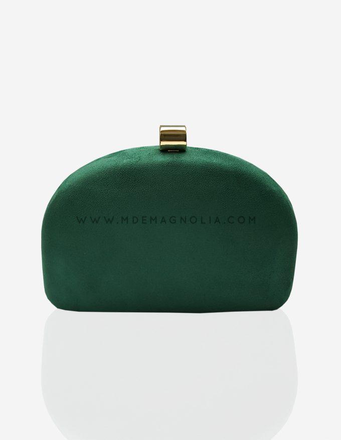 bolso de fiesta verde de ante