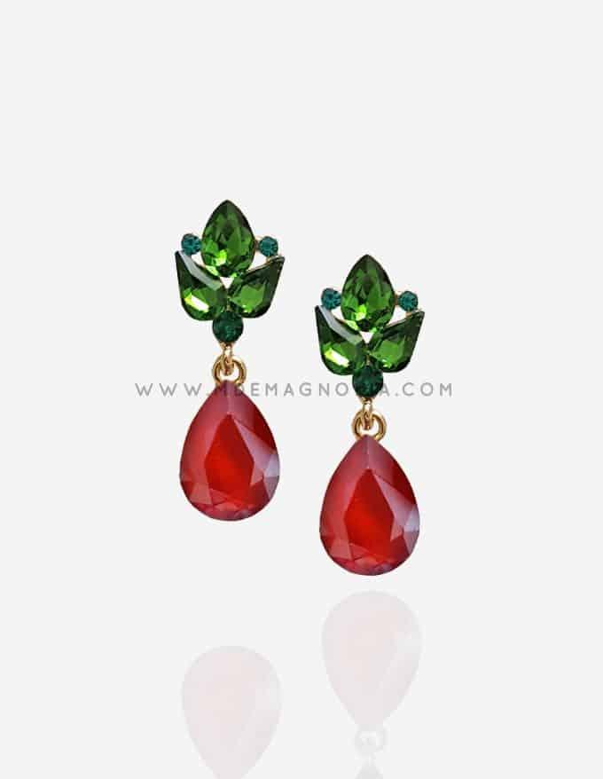 pendientes de cristal verde y rojo