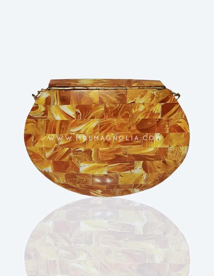 bolso metalico de fiesta color ambar