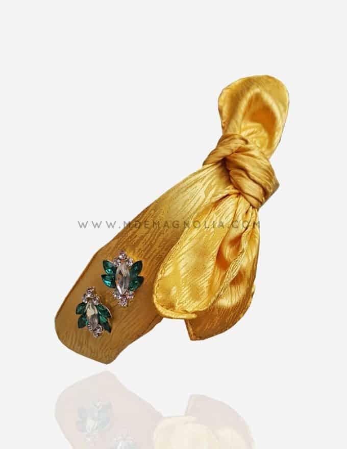 diadema con lazo amarilla para bodas