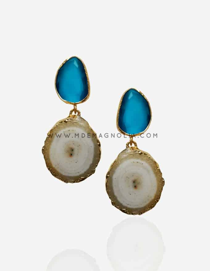 pendientes de piedras naturales azul y blanco