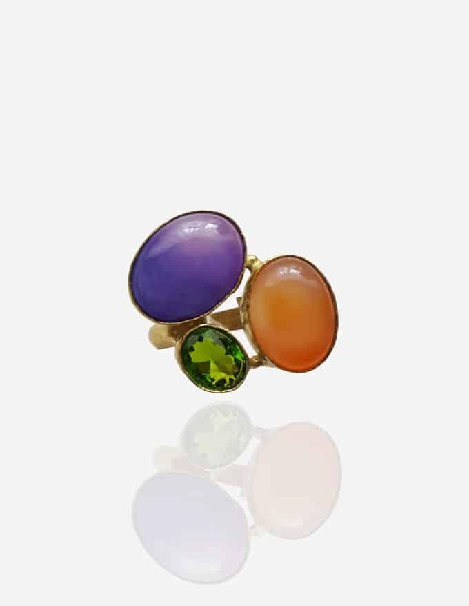 anillo ajustable dorado multicolor