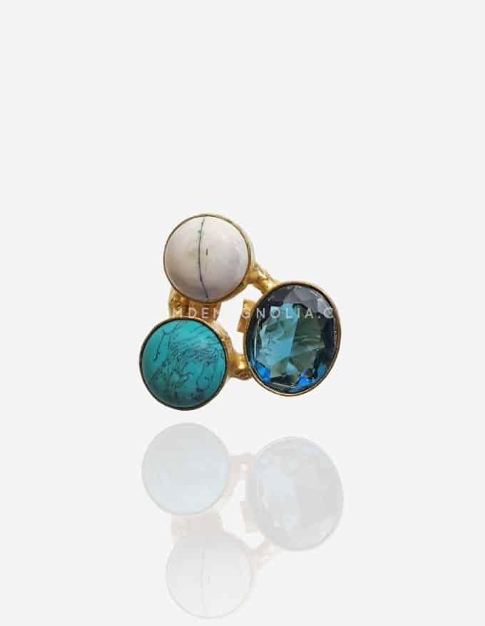 anillo ajustable con piedras azules