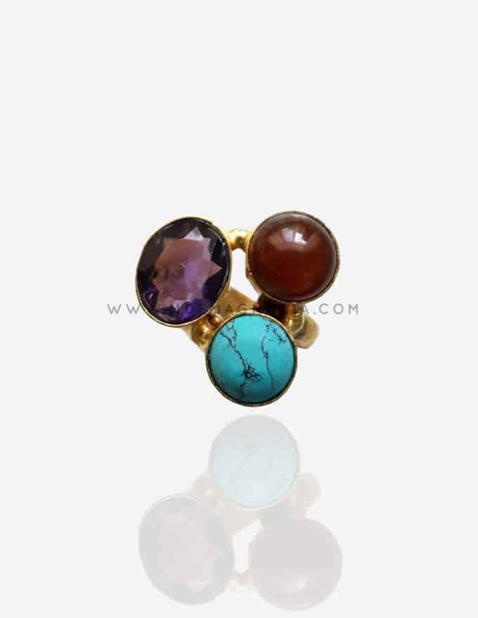 anillo ajustable con piedras circulares