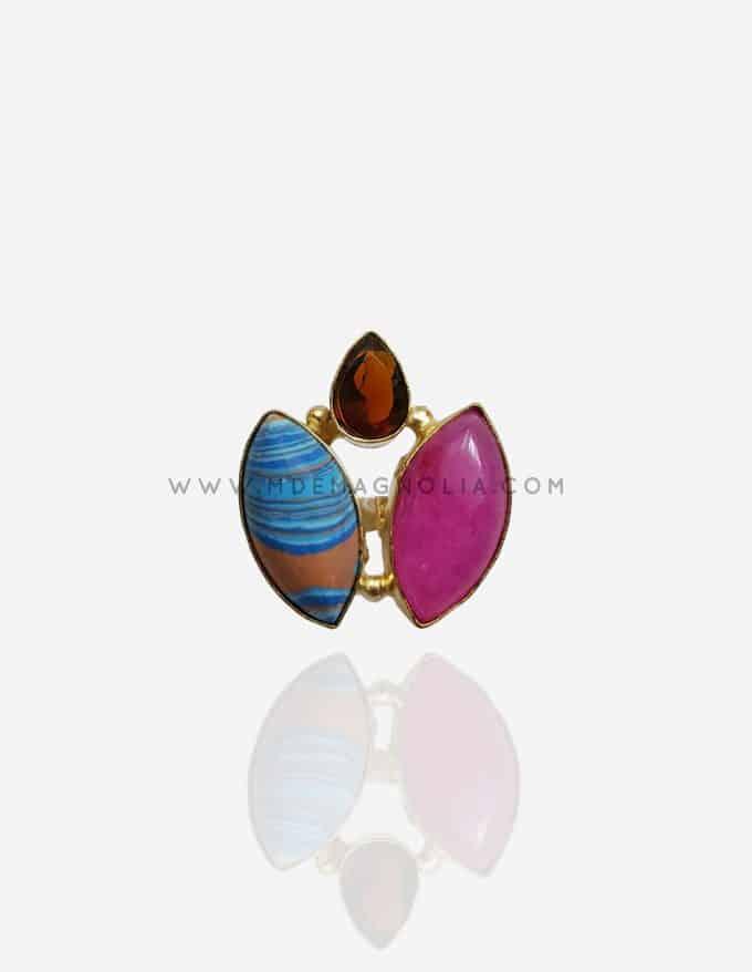 anillo ajustable con piedras multicolores