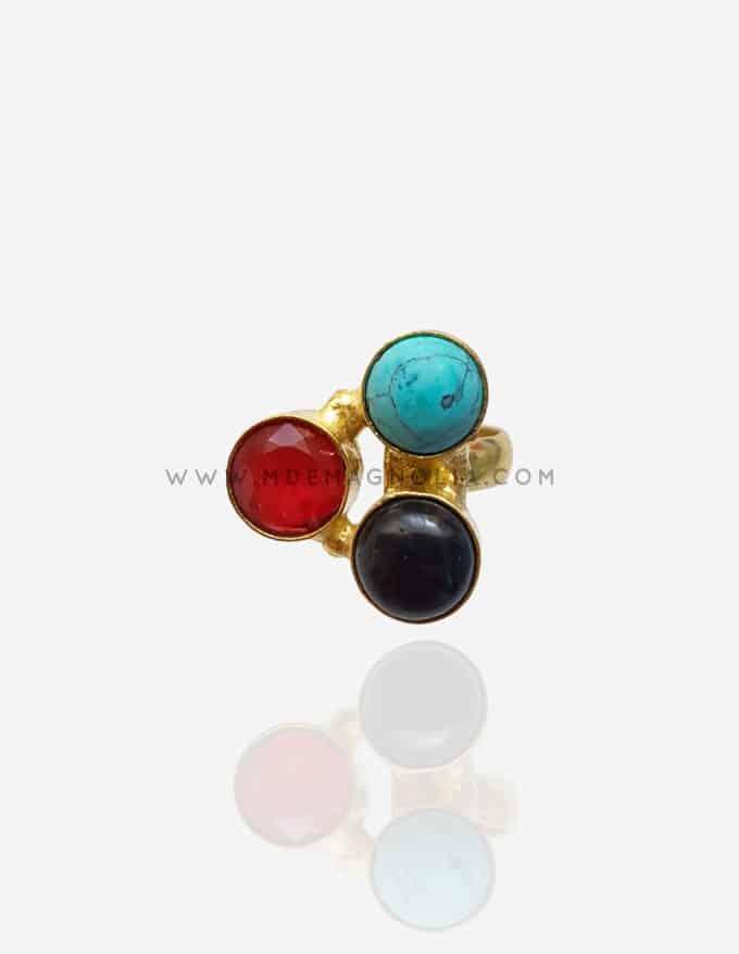 anillo dorado ajustable rojo y turquesa