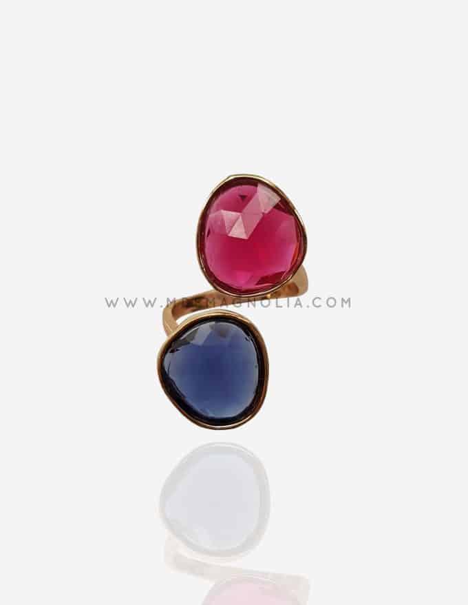 anillo dorado ajustable de cristal