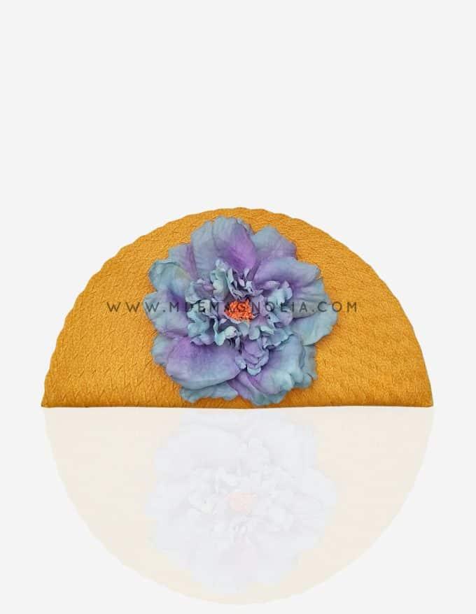 bolso abanico amarillo con flor