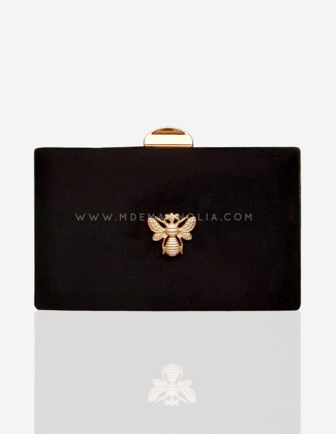 bolso negro con abeja