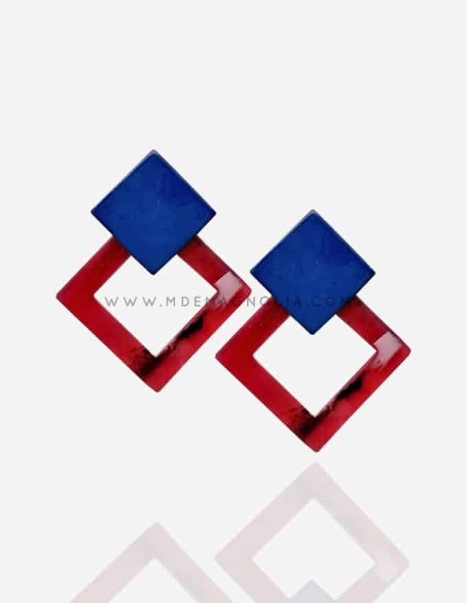 pendientes geometrico bicolor