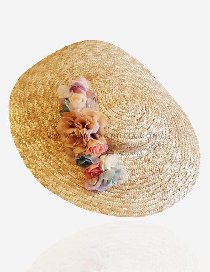 pamela de paja con flores