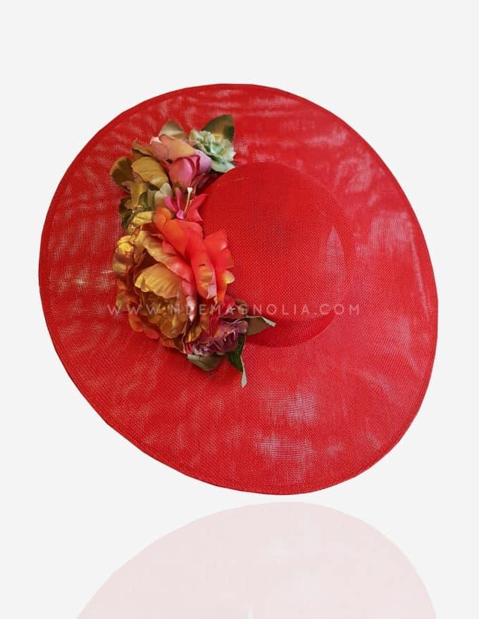 canotier de flores rojo