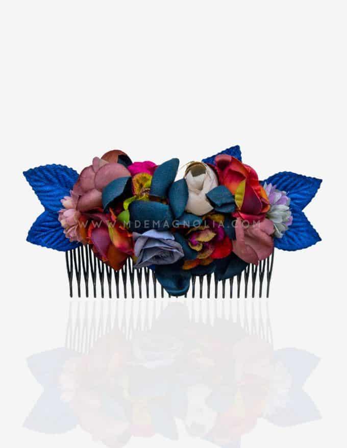 peineta de flores azules