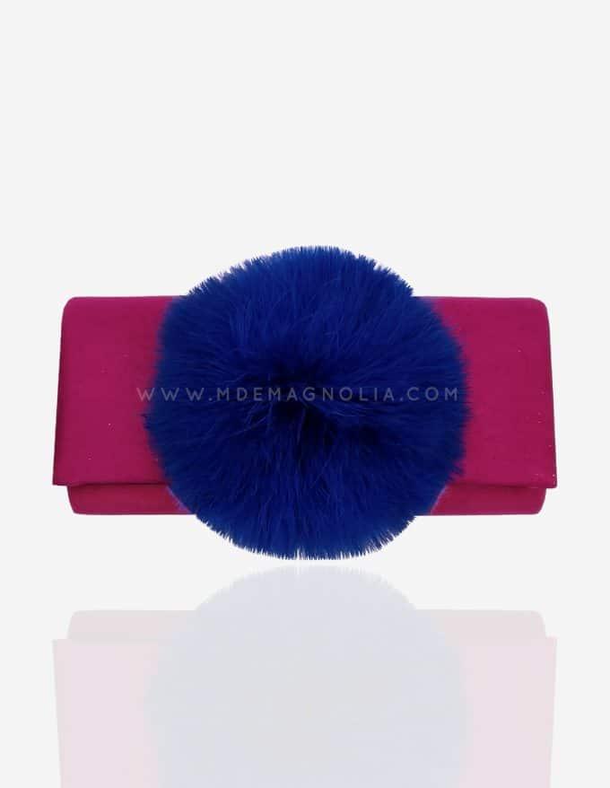 bolso con pompon fucsia y azul