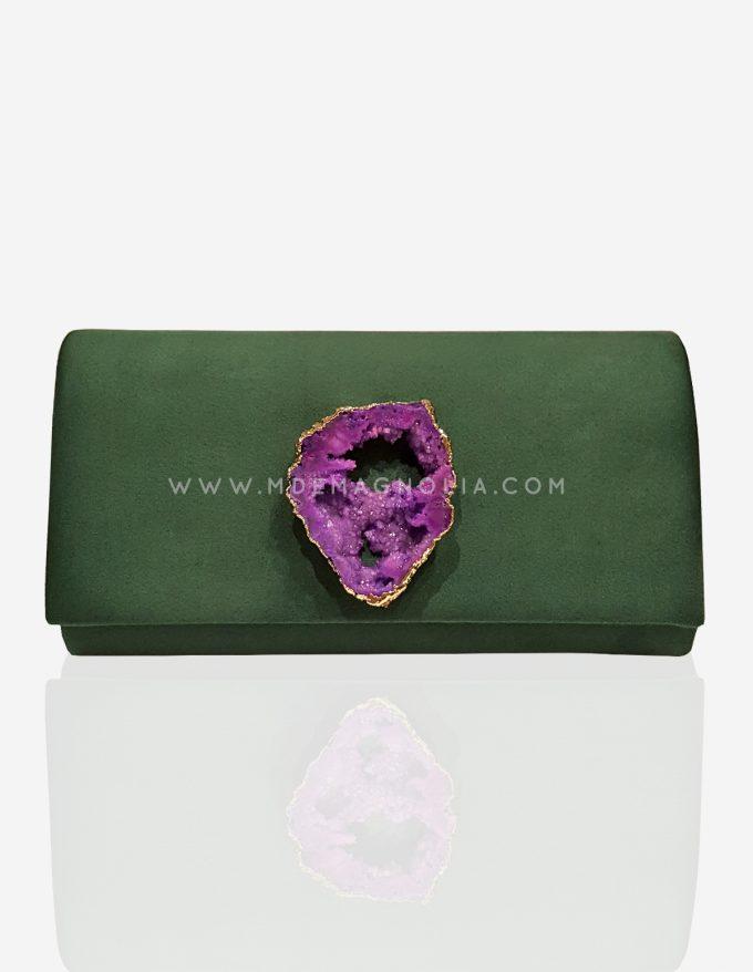 bolso verde con piedra