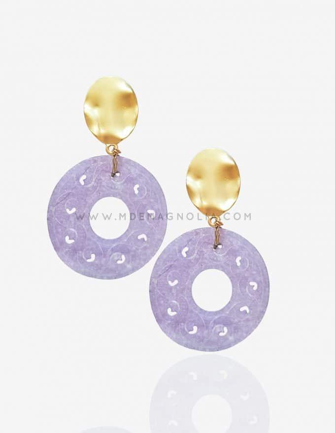 pendientes de nacar violeta