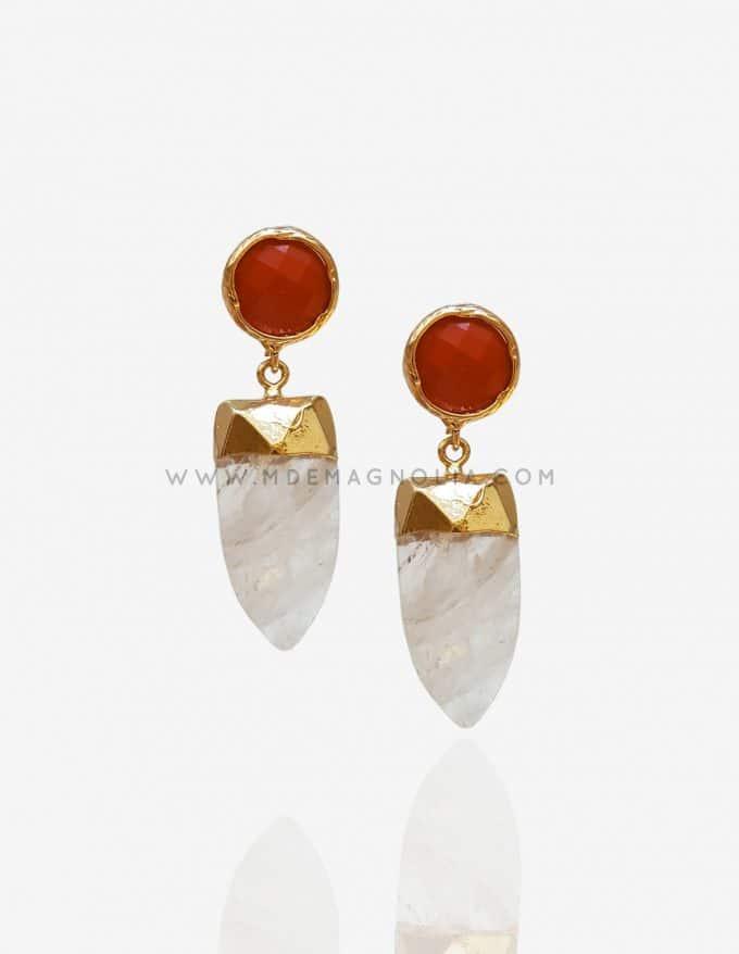 pendientes de piedra natural blanco y rojo