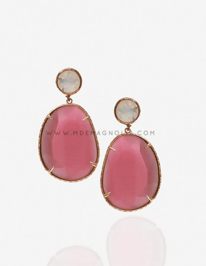 pendientes de piedras rosas