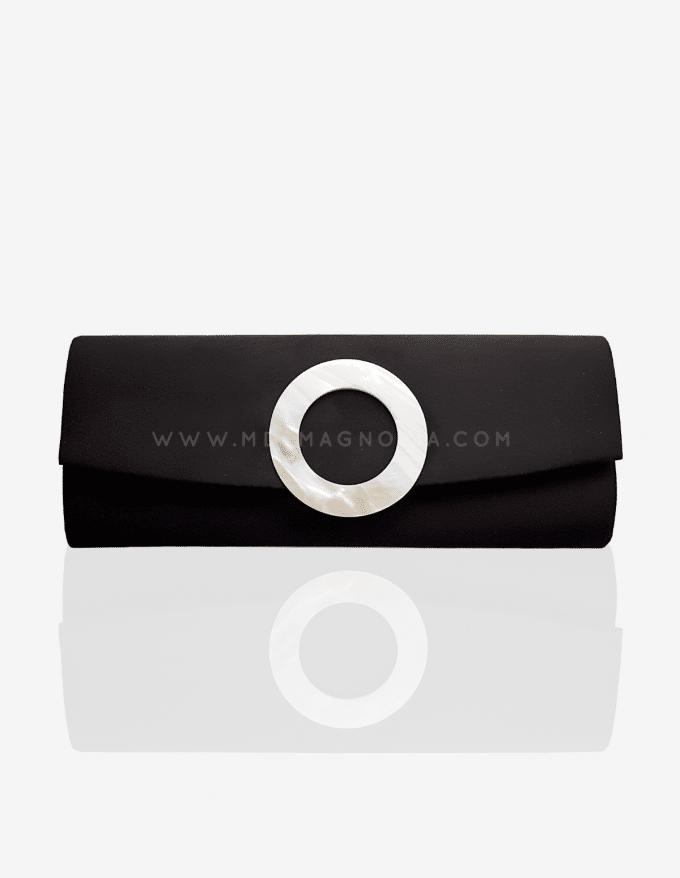 bolso alargado negro con nacar