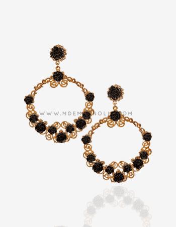 pendientes de flamenca dorados y negros