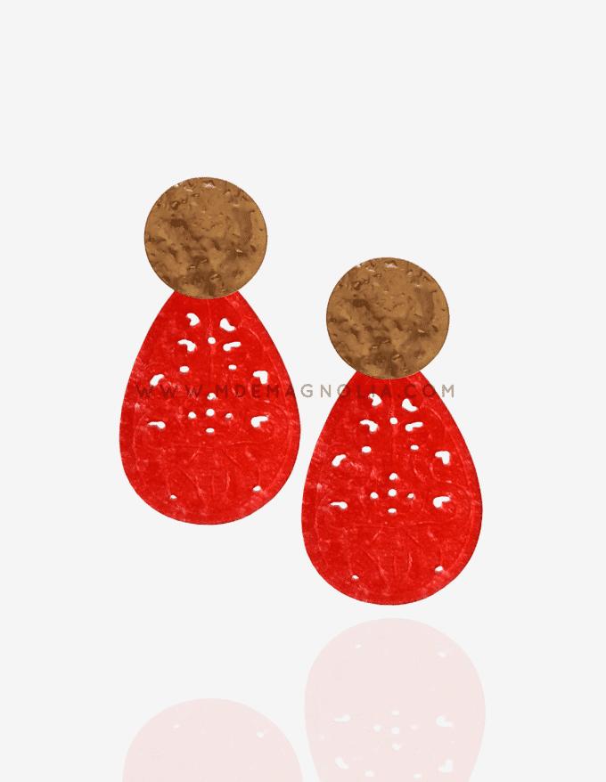 pendientes de nacar rojo