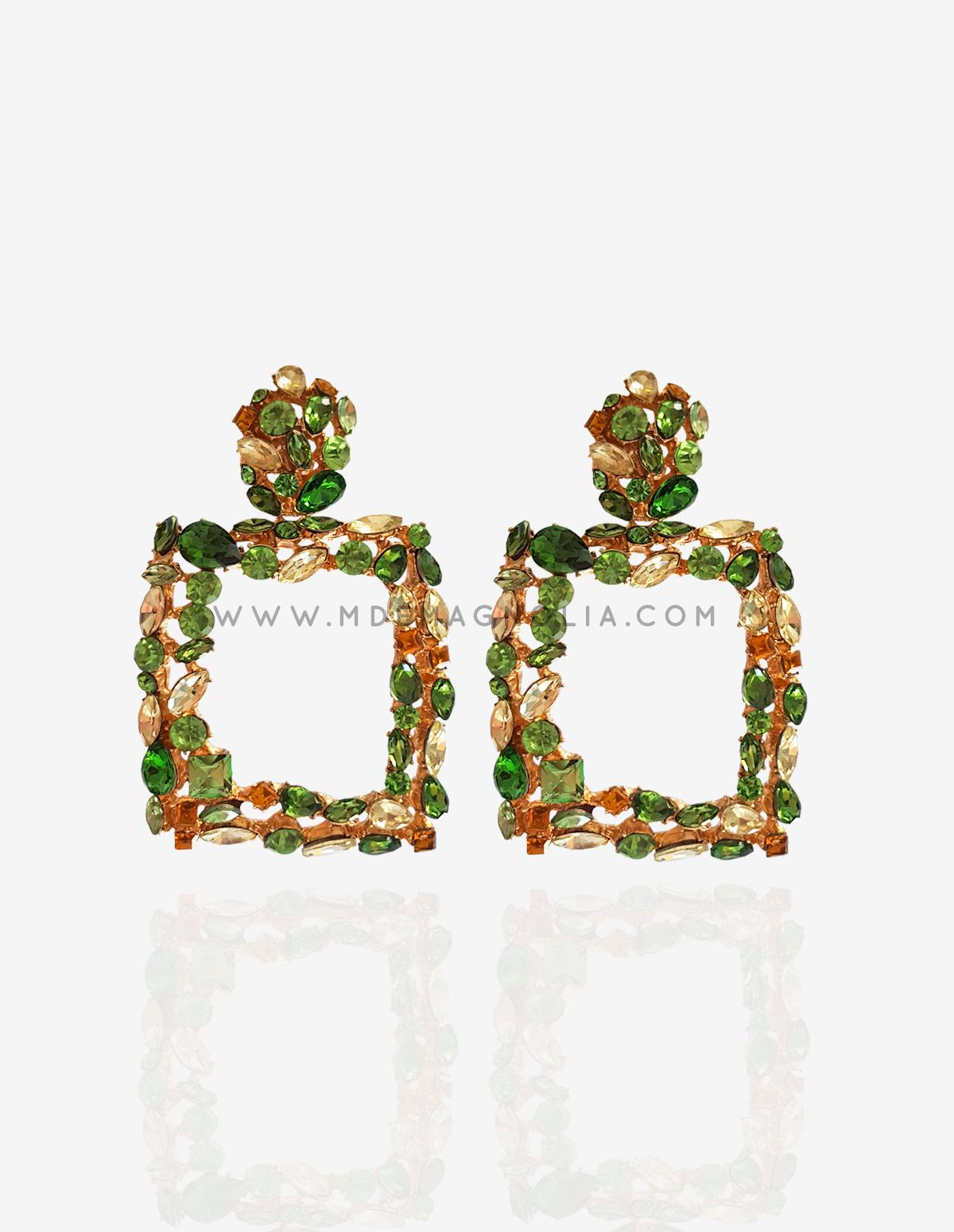 pendientes grandes de cristales verdes