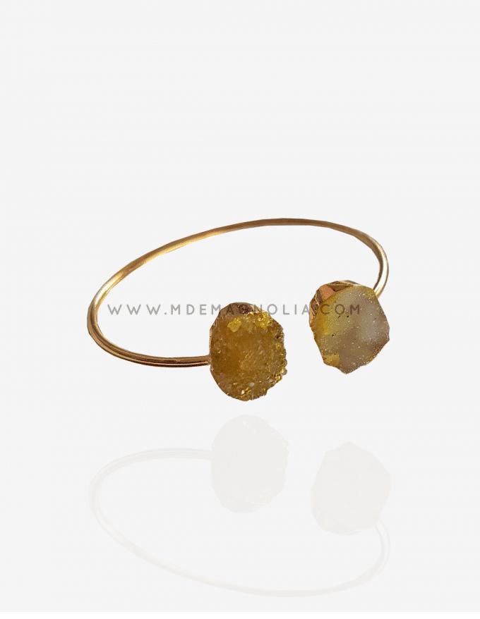 pulsera de piedras drusas amarillas