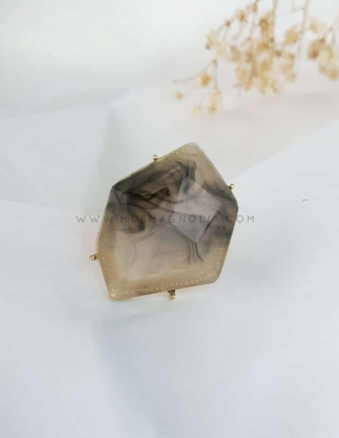 anillo de resina irregular maxi