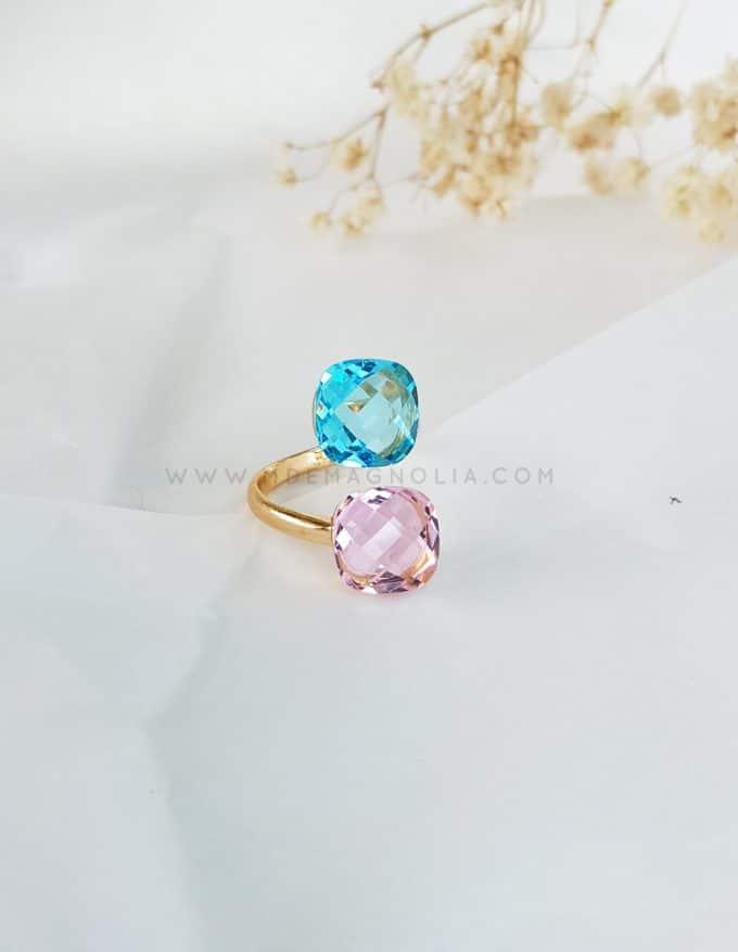 anillo doble de cristales facetados