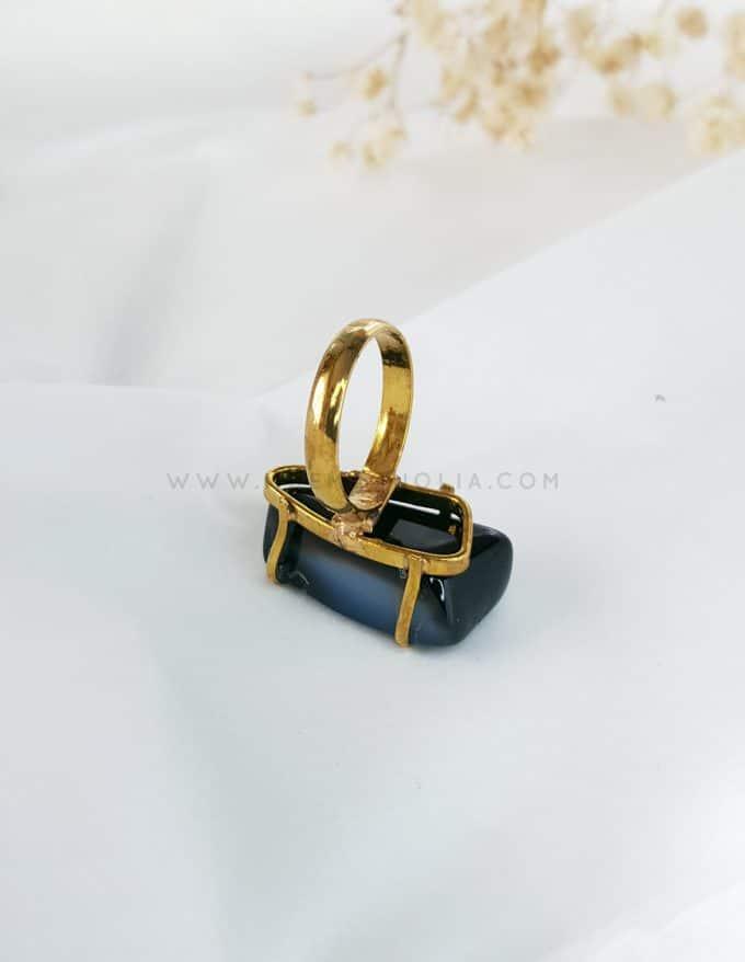 anillo de piedra natural negra