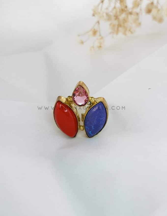 anillo triple morado y rojo