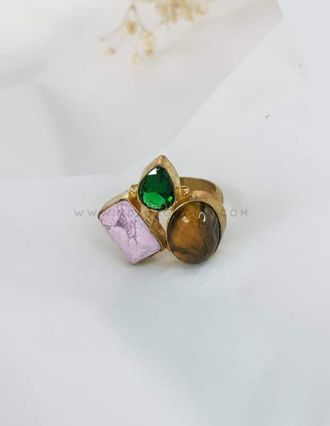 anillo triple rosa verde y marrón