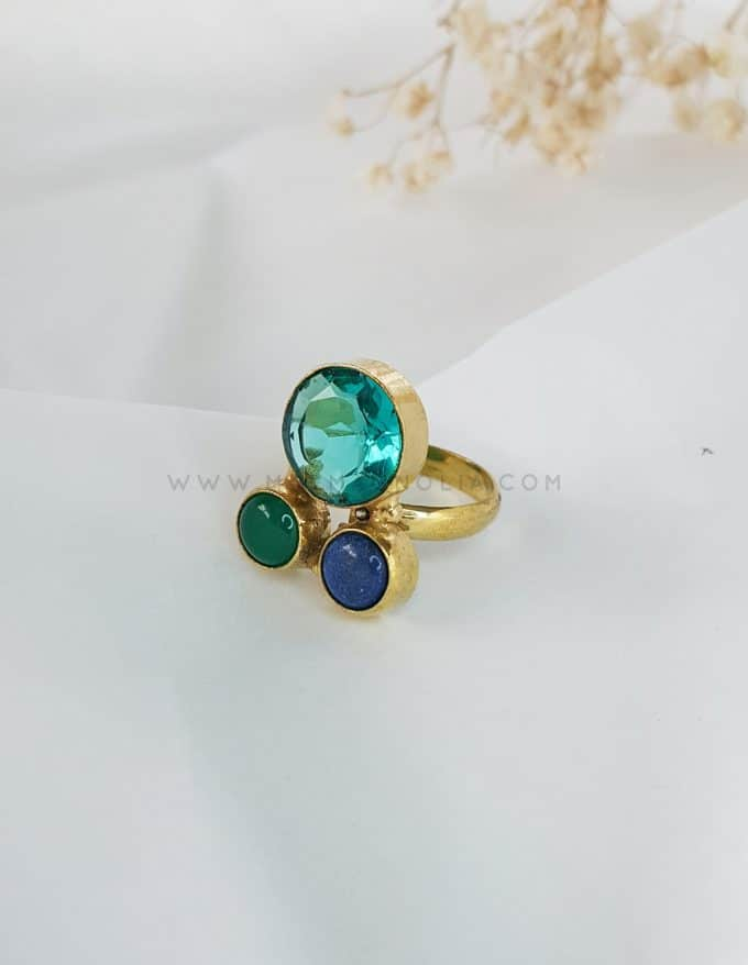 anillo triple turquesa