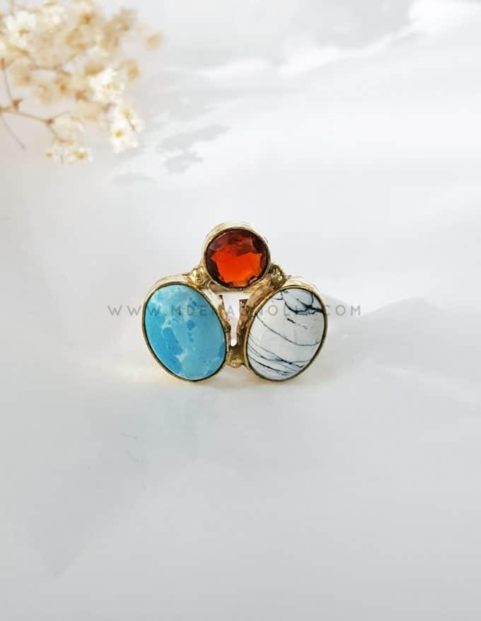 anillo turquesa y rojo