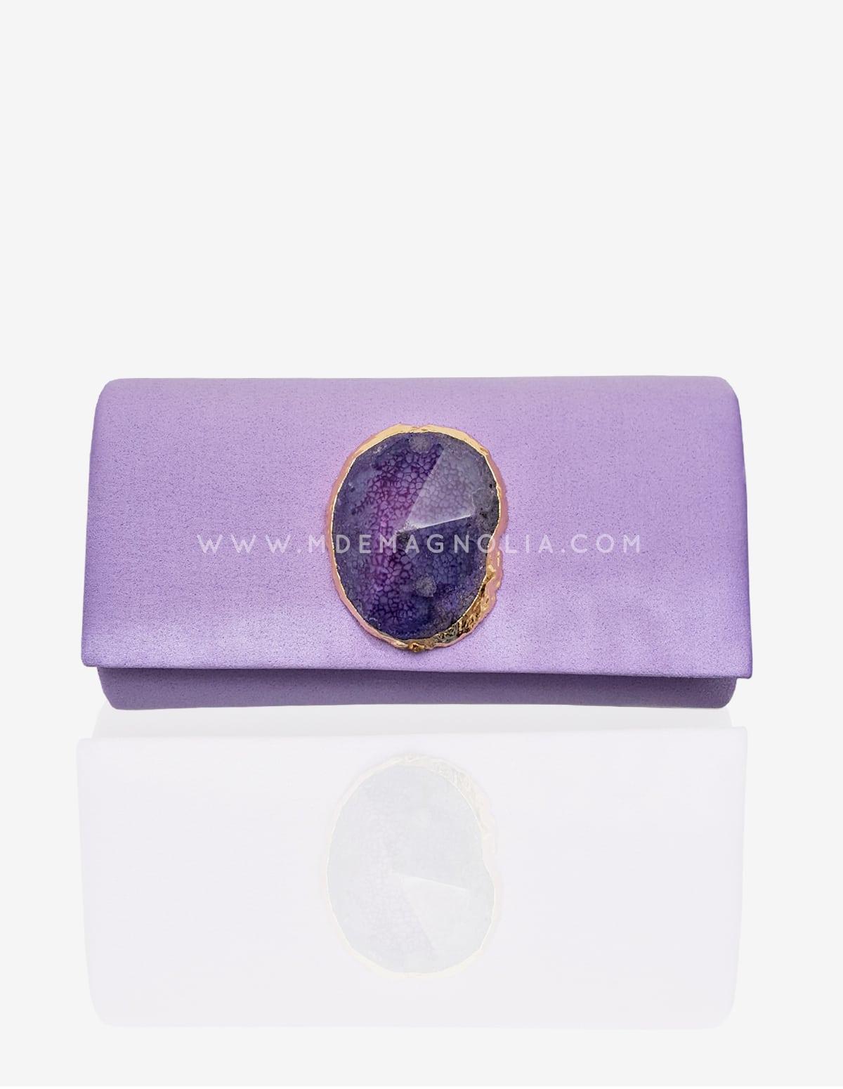 bolso joya lila con piedra