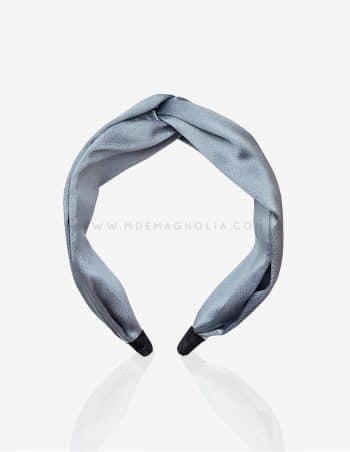 diadema de raso azul grisaceo