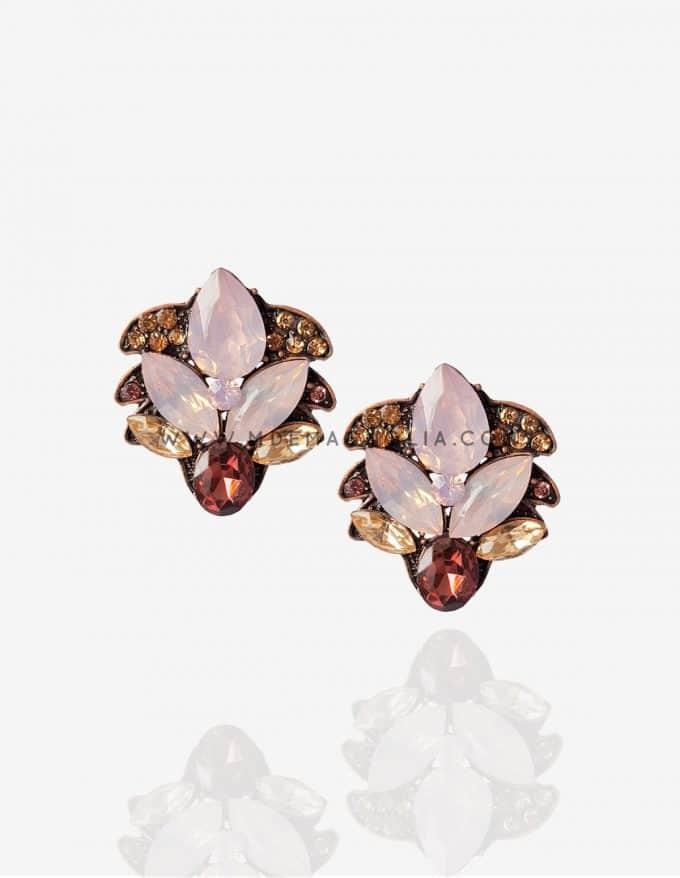 pendientes de cristal rosa flor de loto