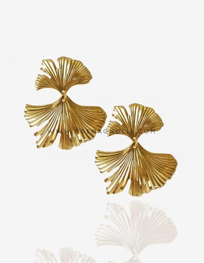 pendientes dorados con forma de alga
