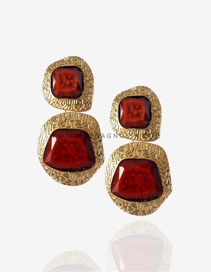 pendientes dorados y rojos xxl