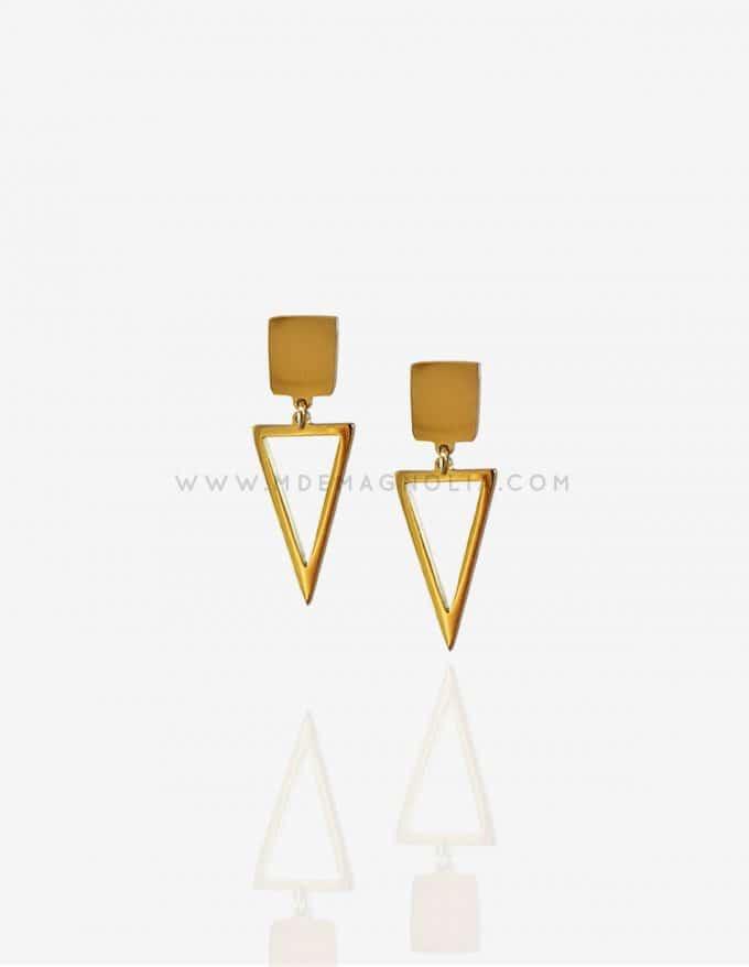 pendientes de triángulos dorados