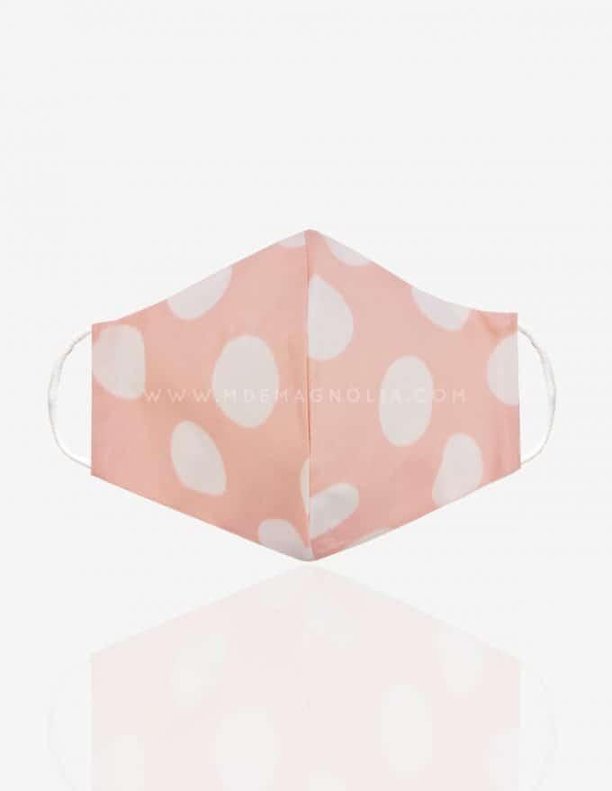 mascarilla de lunares rosa y blanco