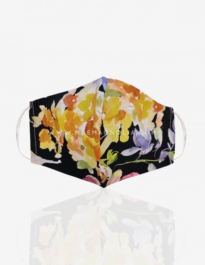 mascarilla de tela con flores grandes amarillas