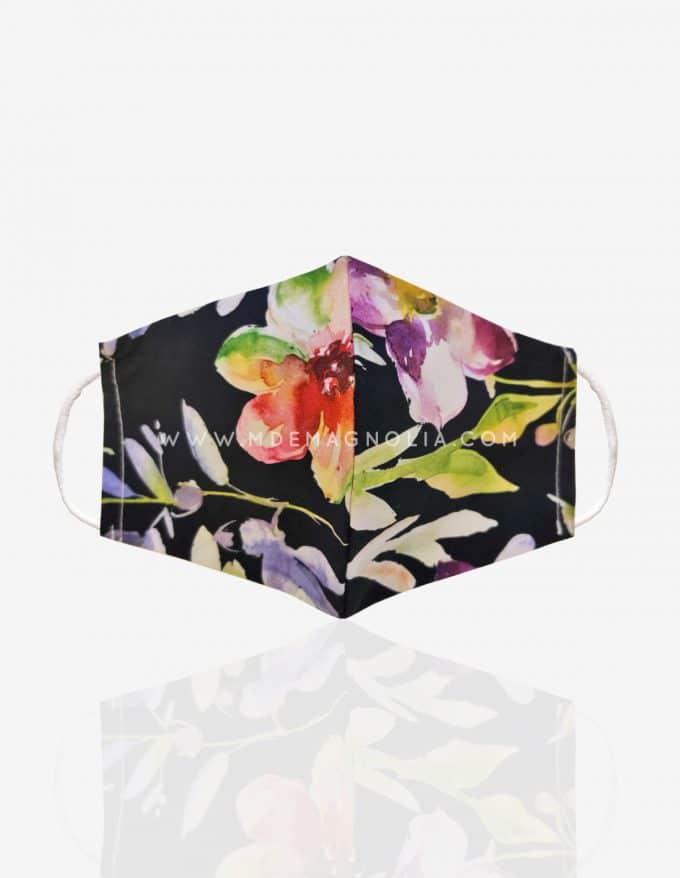 mascarilla de tela con flores grandes multicolor